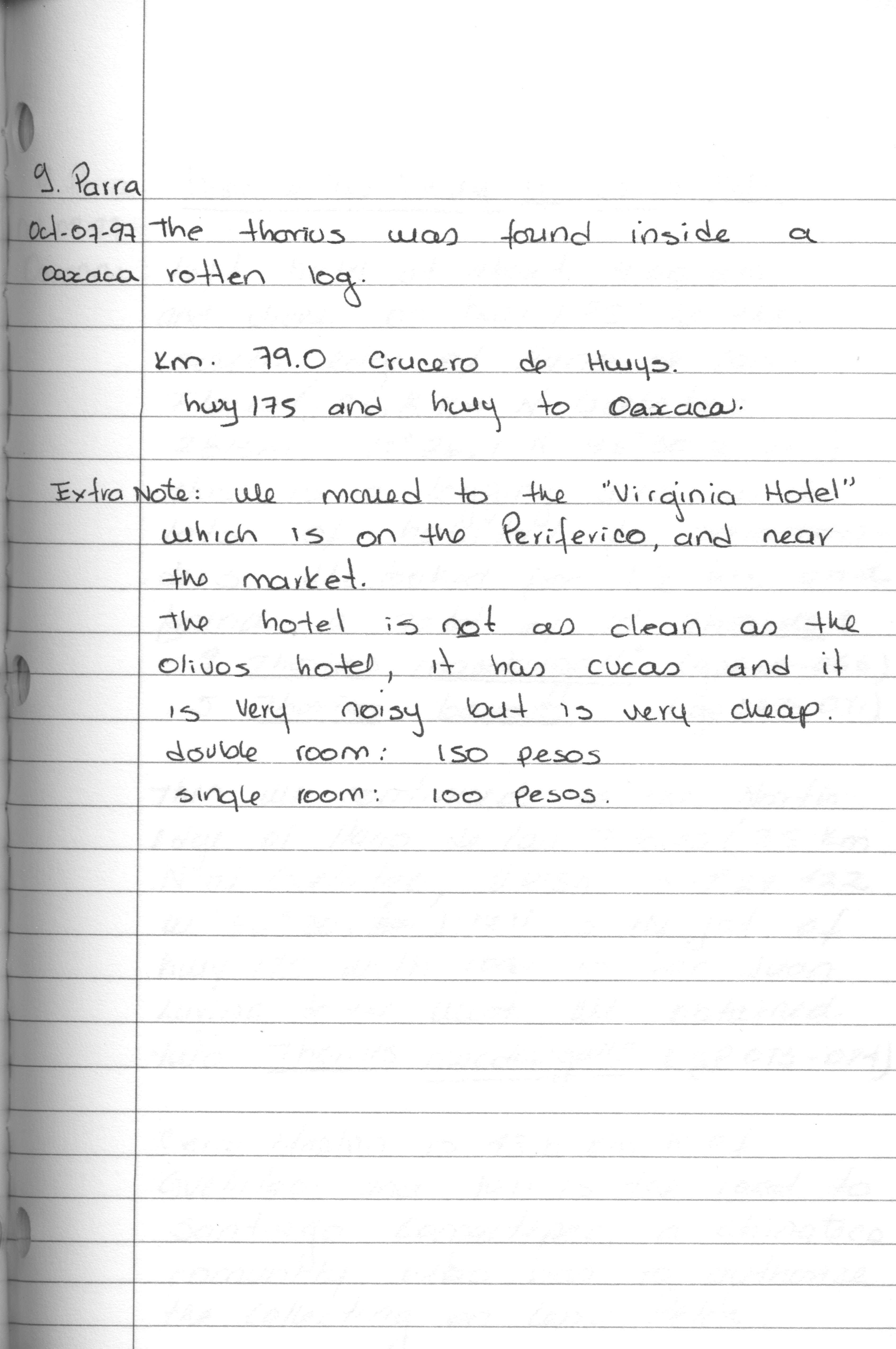 Digitized by Samantha, this page from Gabriela Parra-Olea's 1997 journal describes a hotel stay in Oaxaca, Mexico.