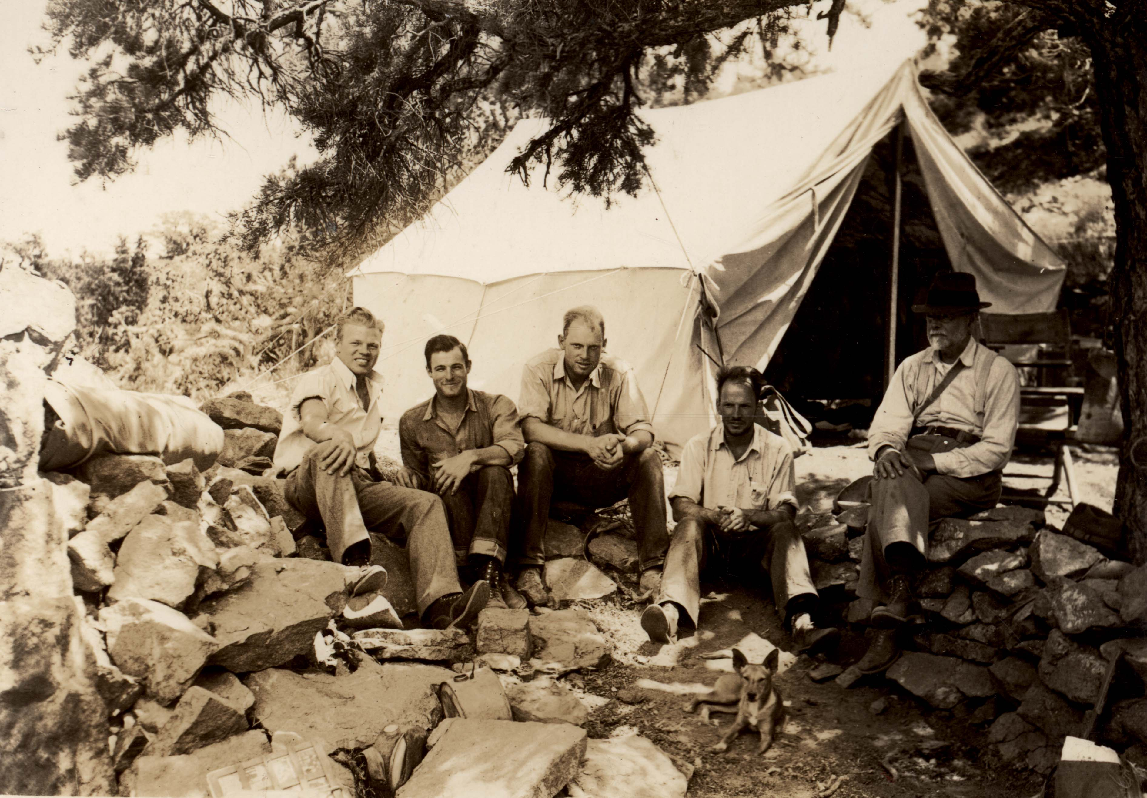 From left to right: Elmer Aldrich, Dale Avery, Dave Johnson, Tom Rodgers, and Joseph Grinnell. Cedar Canyon, Providence Mountains, San Bernardino County, California. June 1, 1938.