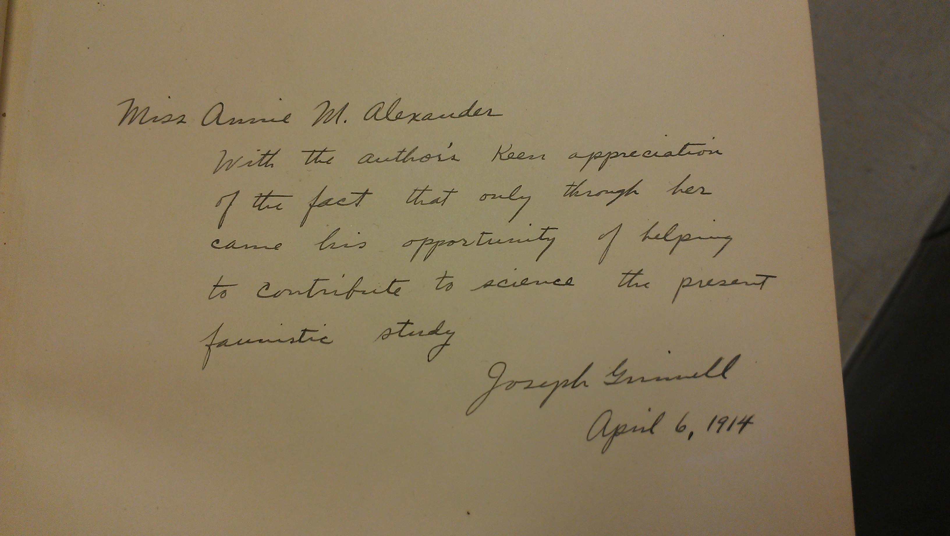 "Joseph Grinnell's inscription to Annie Alexander for ""An Account of the Mammals and Birds of the Lower Colorado Valley"""