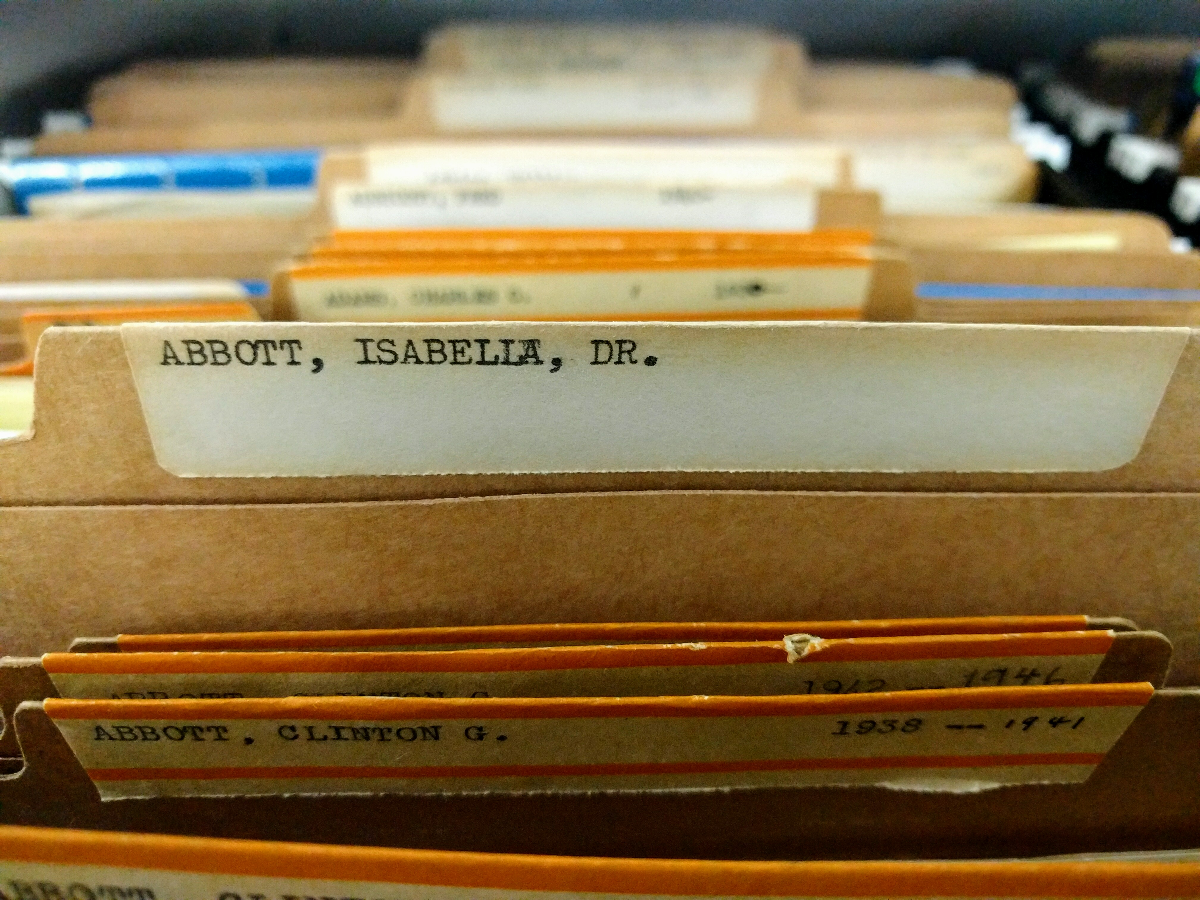 Dr. Isabella Abbott's correspondence file in the archives.